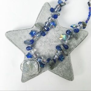 Chunky celestine stone statement necklace, gems